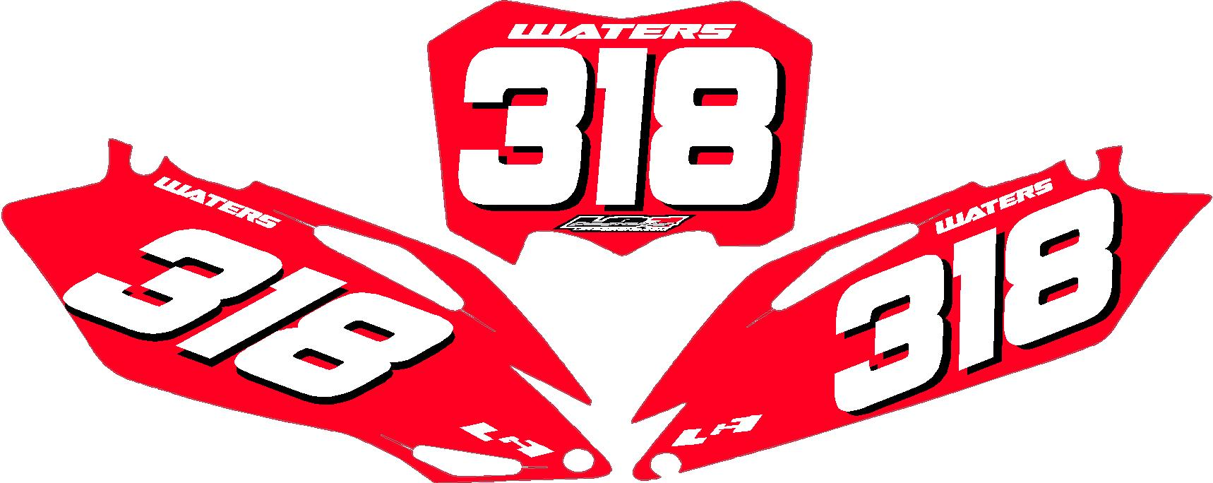 Vintage motocross number plate graphics - Single Color Plates 49